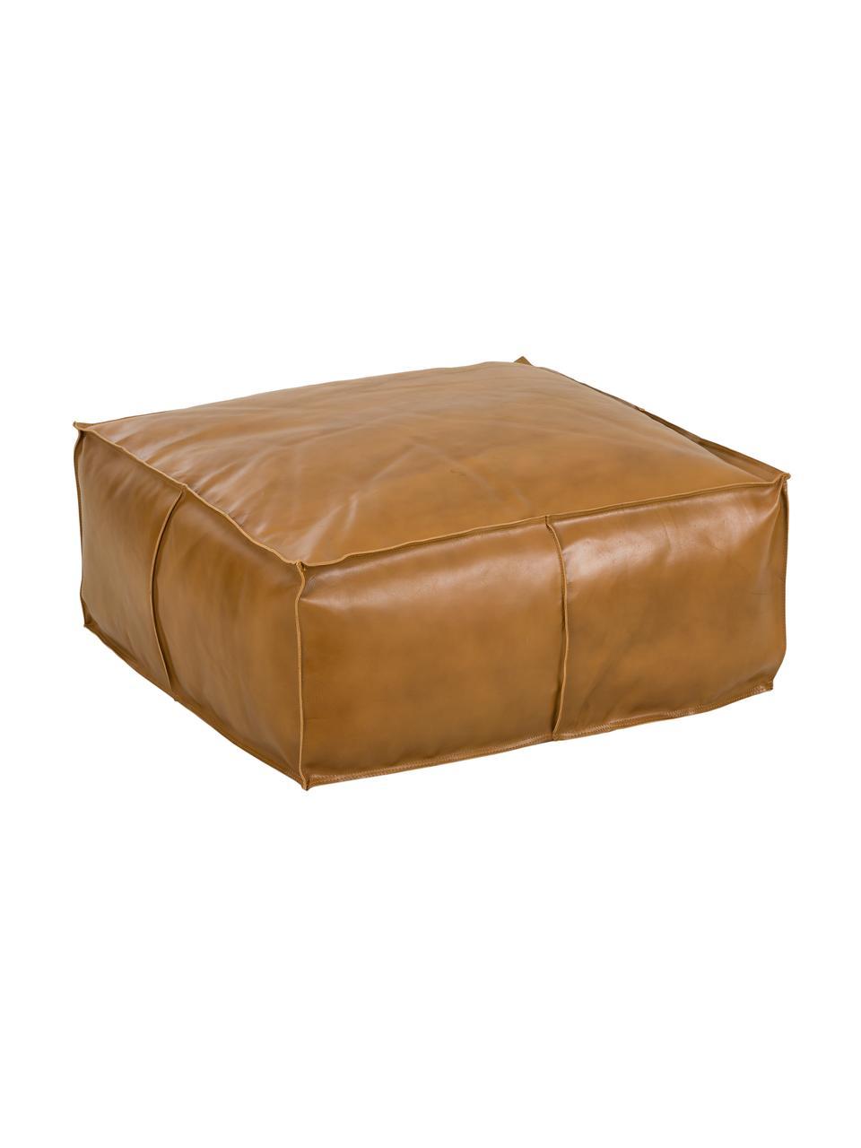 Cuscino da pavimento in pelle Arabica, Rivestimento: pelle, finitura nappa, Cognac, Larg. 70 x Alt. 30 cm
