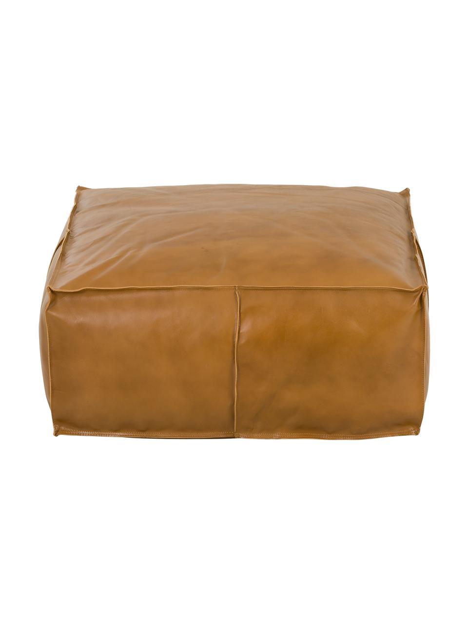 Großer Leder-Pouf Arabica, Bezug: Büffelleder, Nappa-Finish, Unterseite: Baumwolle, Cognac, 70 x 30 cm