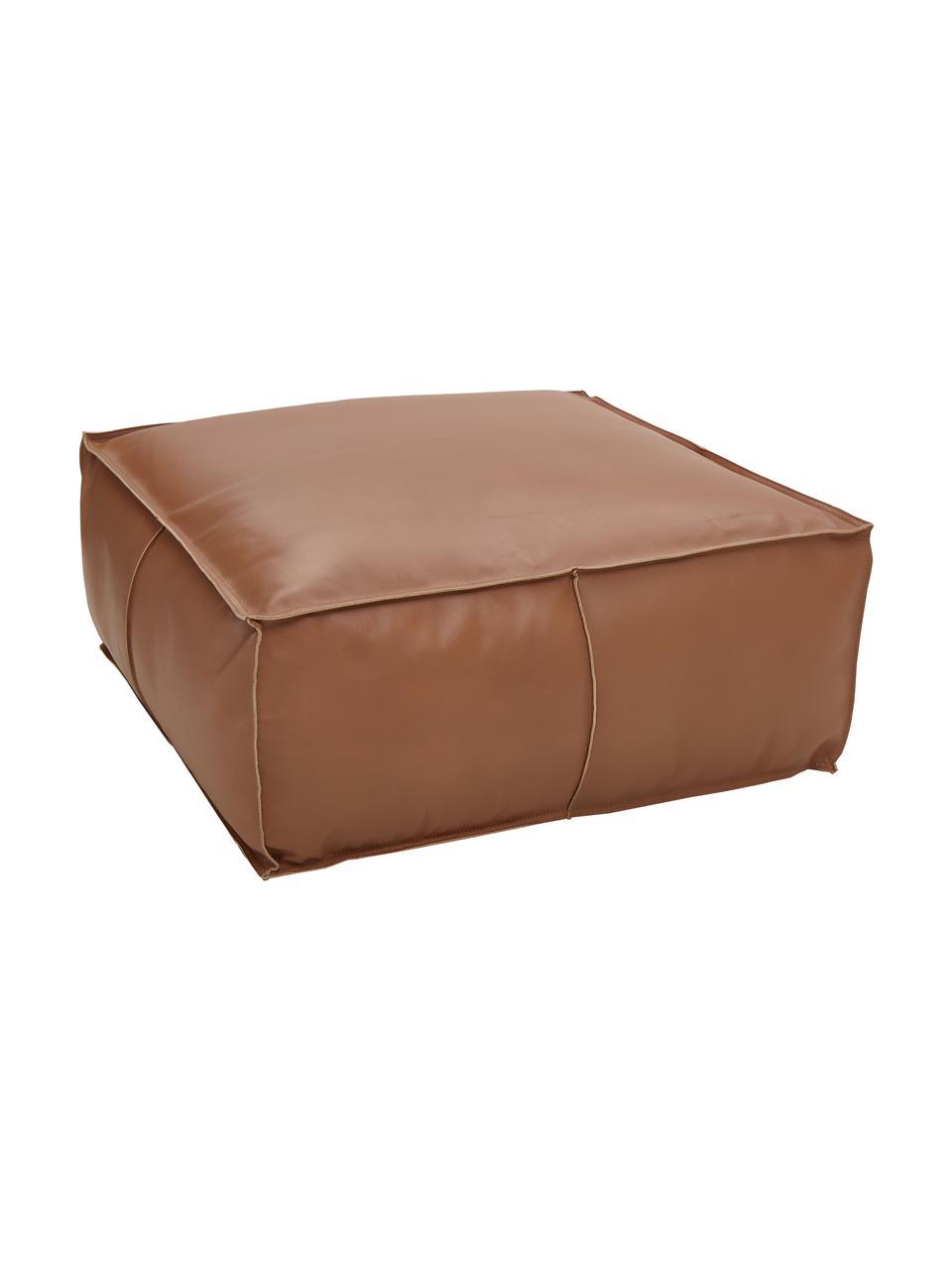 Poduszka podłogowa ze skóry Arabica, Tapicerka: skóra bawola, wykończenie, Koniakowy, S 70 x W 30 cm