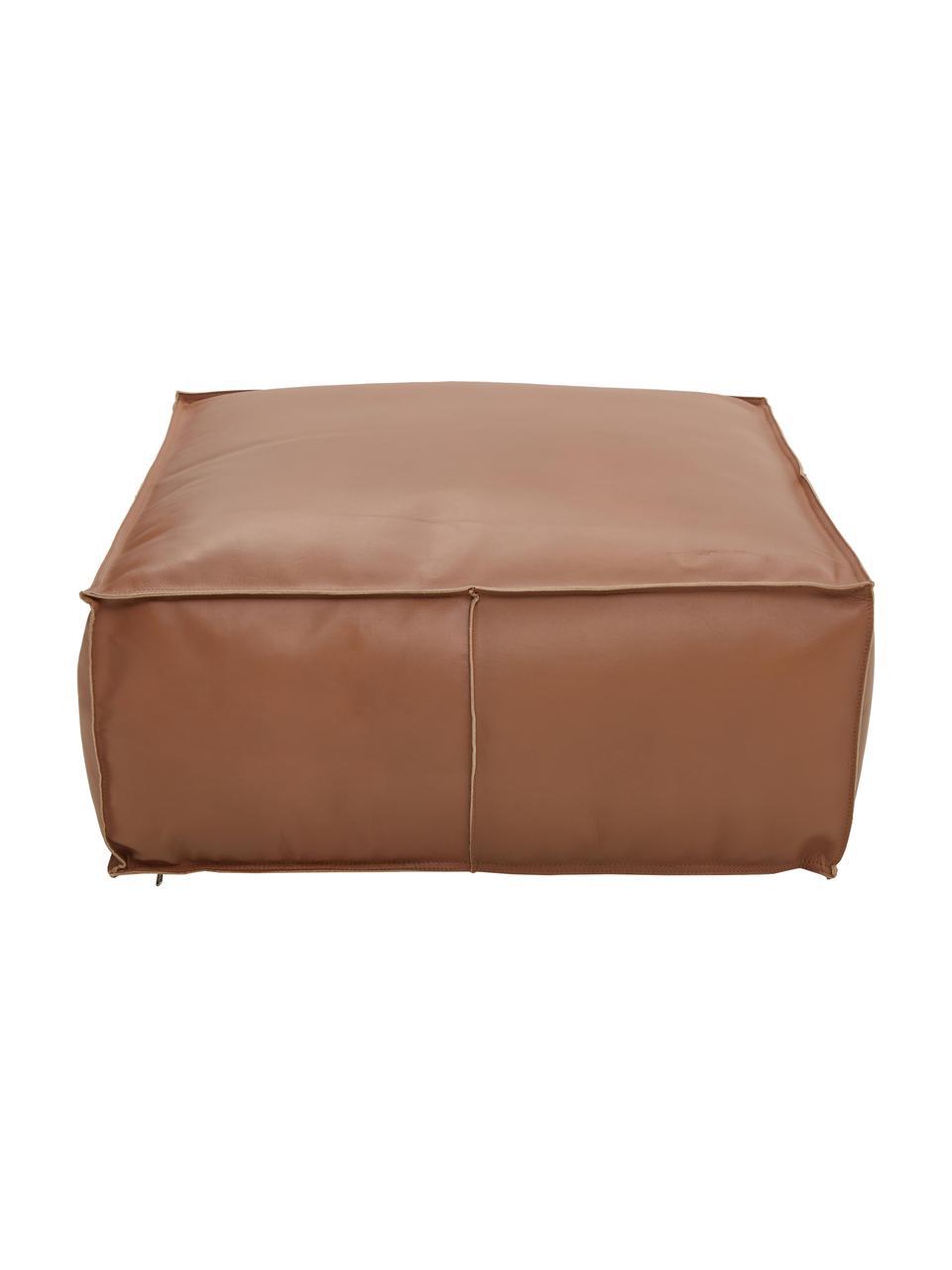 Grote leren poef Arabica, Bekleding: buffelleer, nappaleer, Onderzijde: katoen, Cognackleurig, 70 x 30 cm