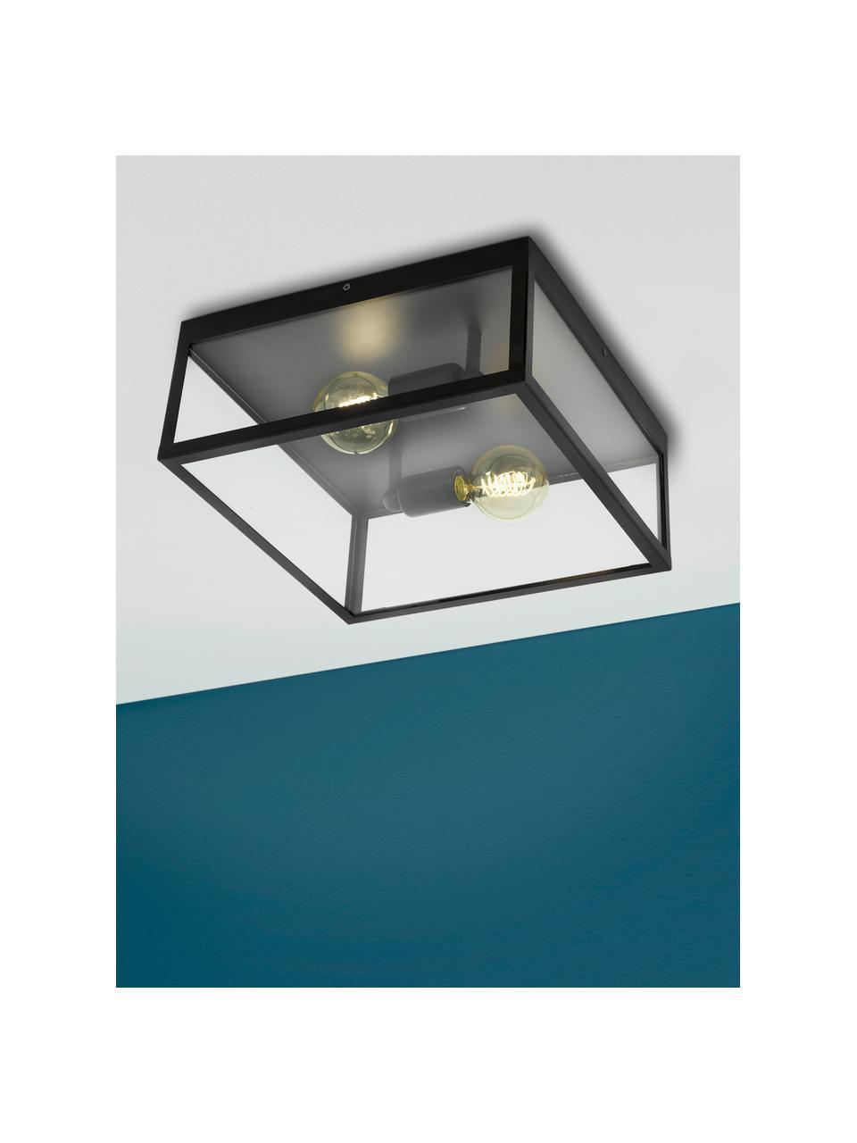 Lampa sufitowa w stylu industrialnym Aberdeen, Czarny, transparentny, S 36 x W 16 cm