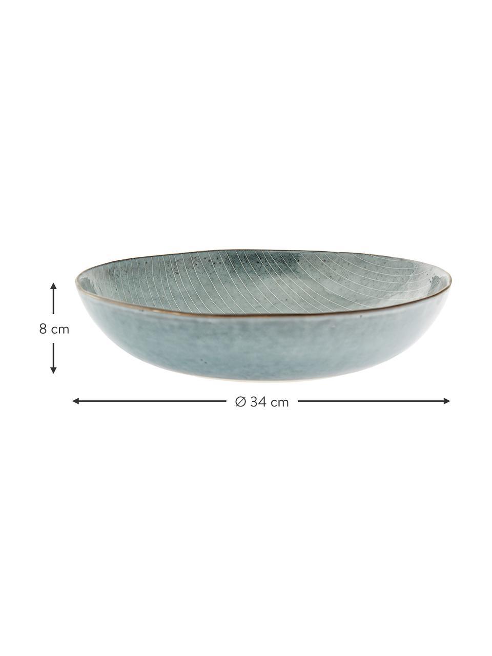 Ręcznie wykonana miska z kamionki Nordic Sea Ø 34 cm, Kamionka, Odcienie szarego, odcienie niebieskiego, Ø 34 x W 8 cm