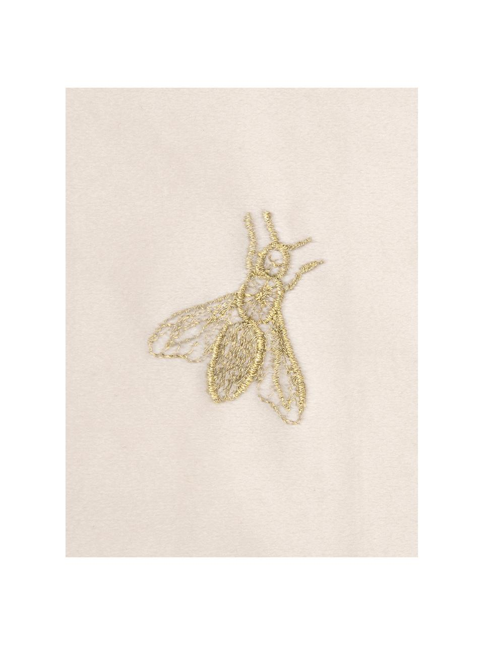 Geborduurde fluwelen kussenhoes Nora in beige/goudkleur, 100% polyester fluweel, Beige, 45 x 45 cm