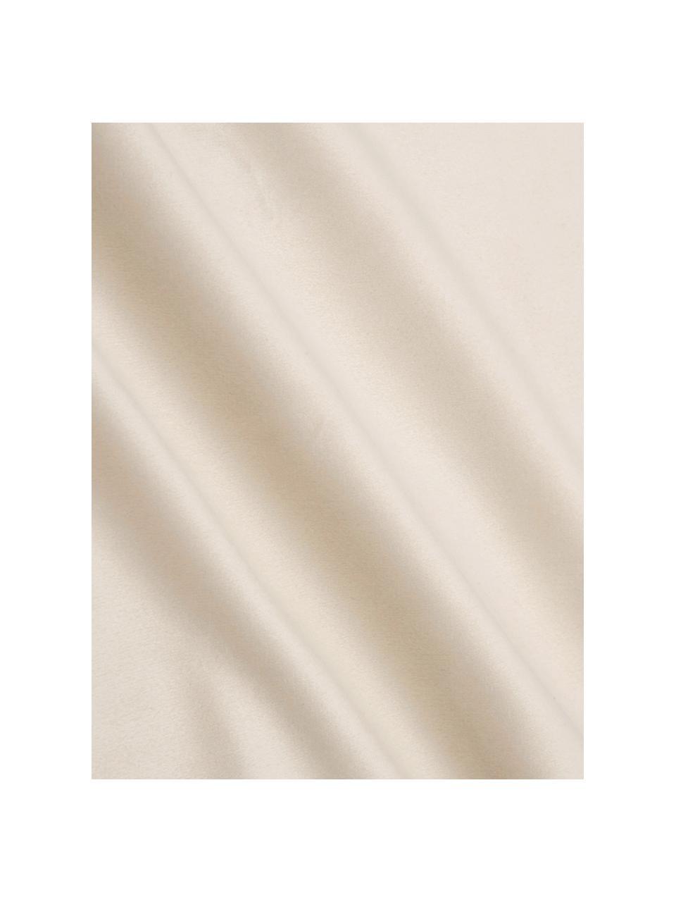 Bestickte Samt-Kissenhülle Nora in Beige/Gold, 100% Polyestersamt, Beige, 45 x 45 cm