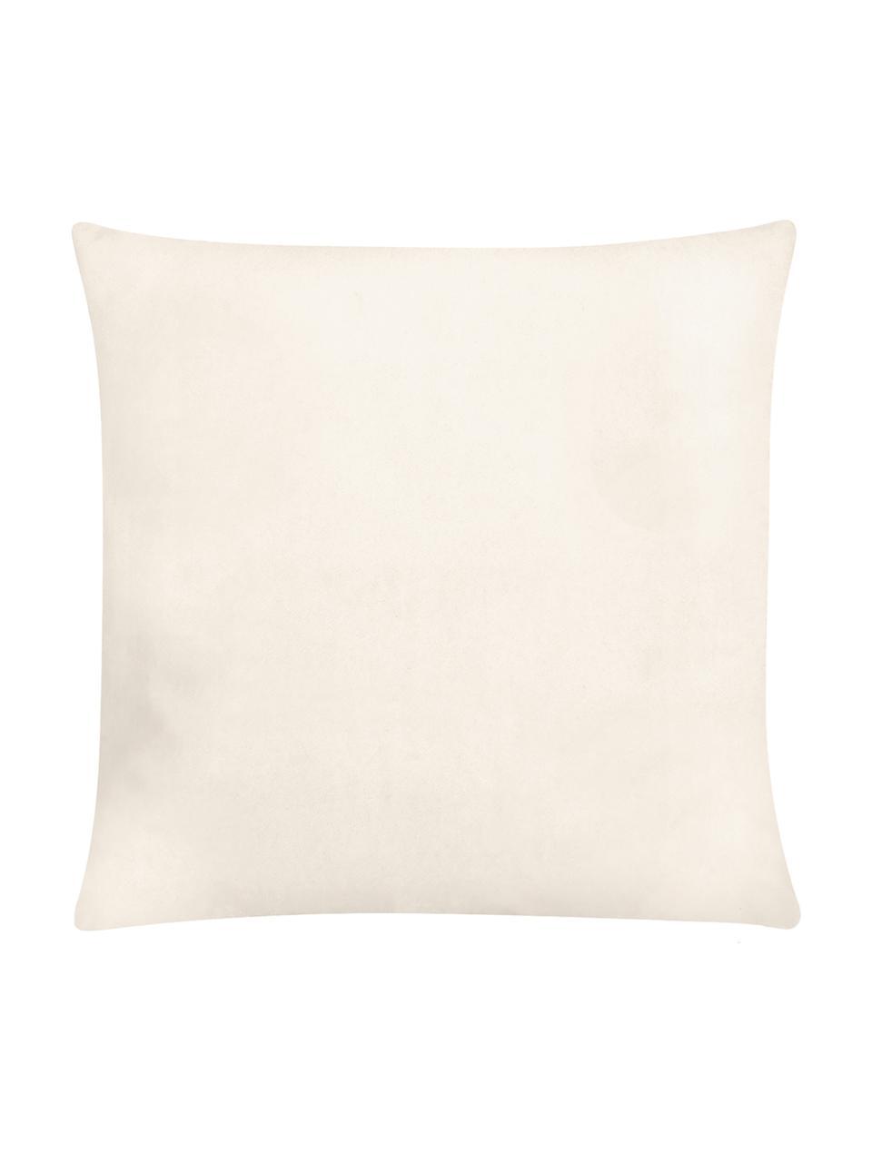 Haftowana poszewka na poduszkę z aksamitu Nora, 100% aksamit poliestrowy, Beżowy, S 45 x D 45 cm
