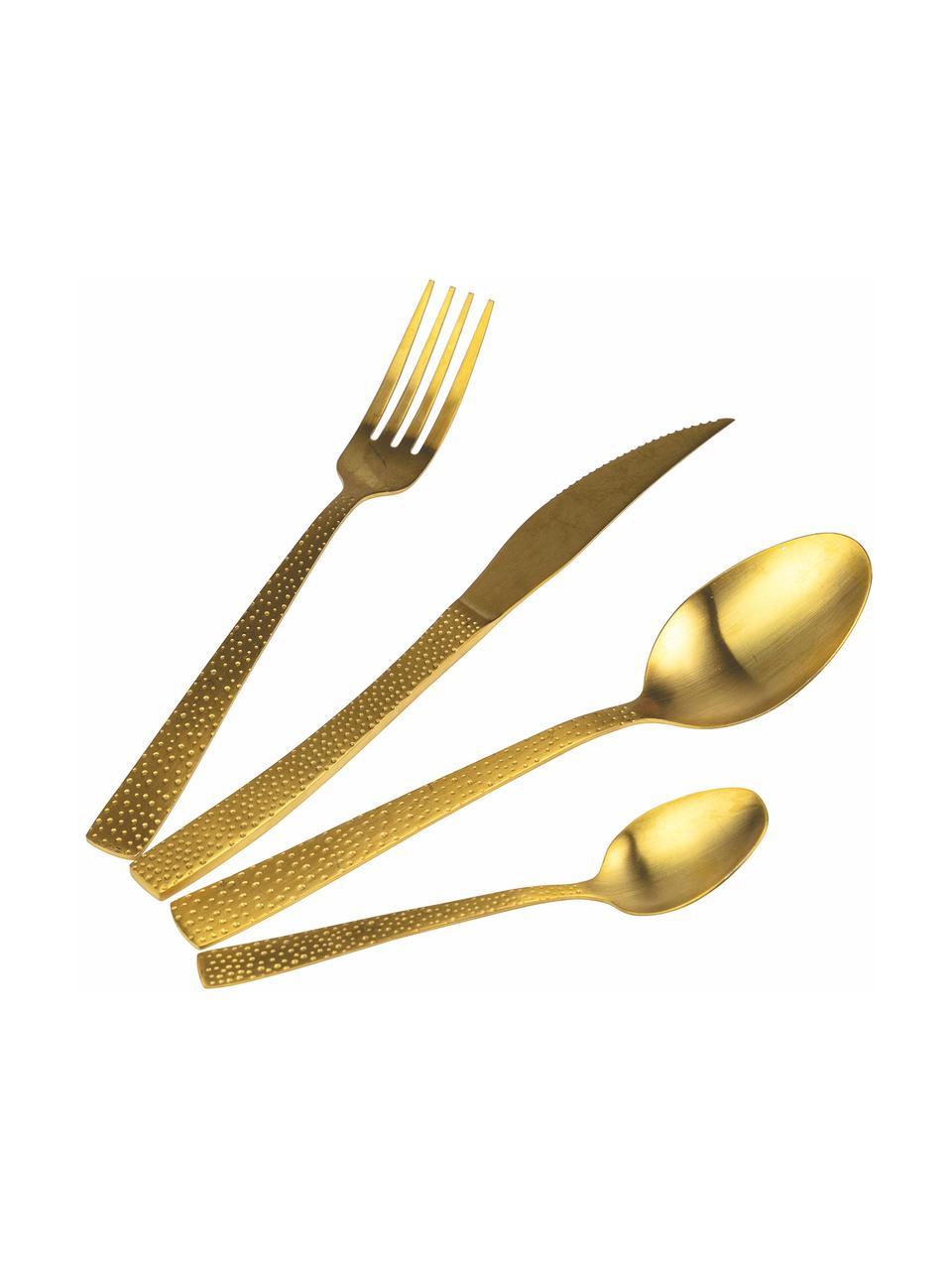 Goldfarbenes Besteck-Set Posate mit gehämmerten Griffen, 6 Personen (24-tlg.), Griff: Edelstahl, gehämmert, Goldfarben, Set mit verschiedenen Größen