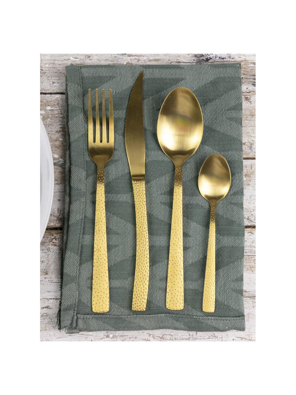 Set 24 posate dorate con manici martellati per 6 persone Posate, Manico: acciaio inossidabile mart, Dorato, Set in varie misure