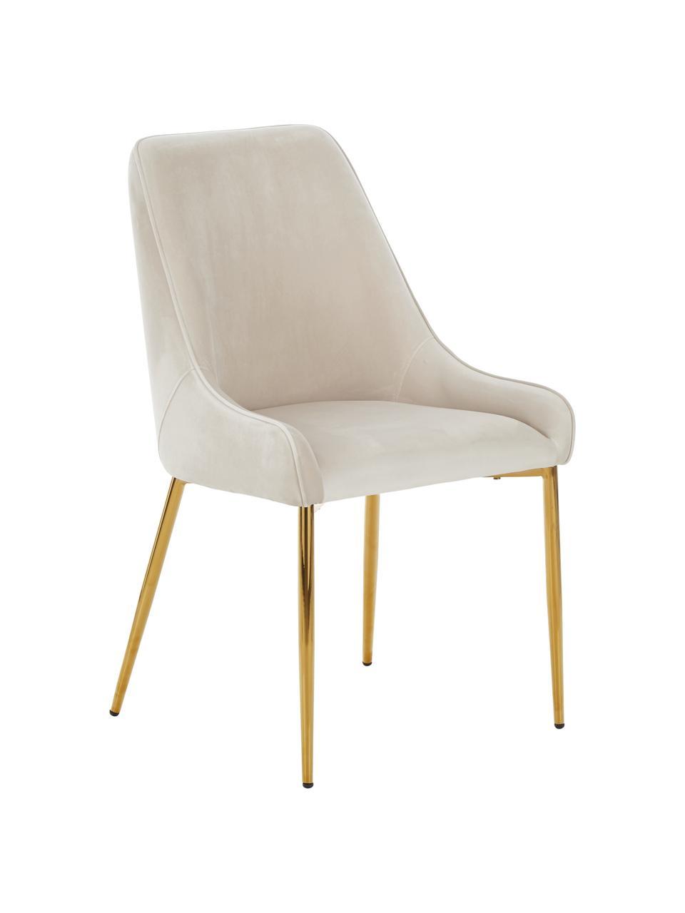 Sedia in velluto beige Ava, Rivestimento: velluto (100% poliestere), Gambe: metallo zincato, Velluto beige, Larg. 53 x Prof. 60 cm