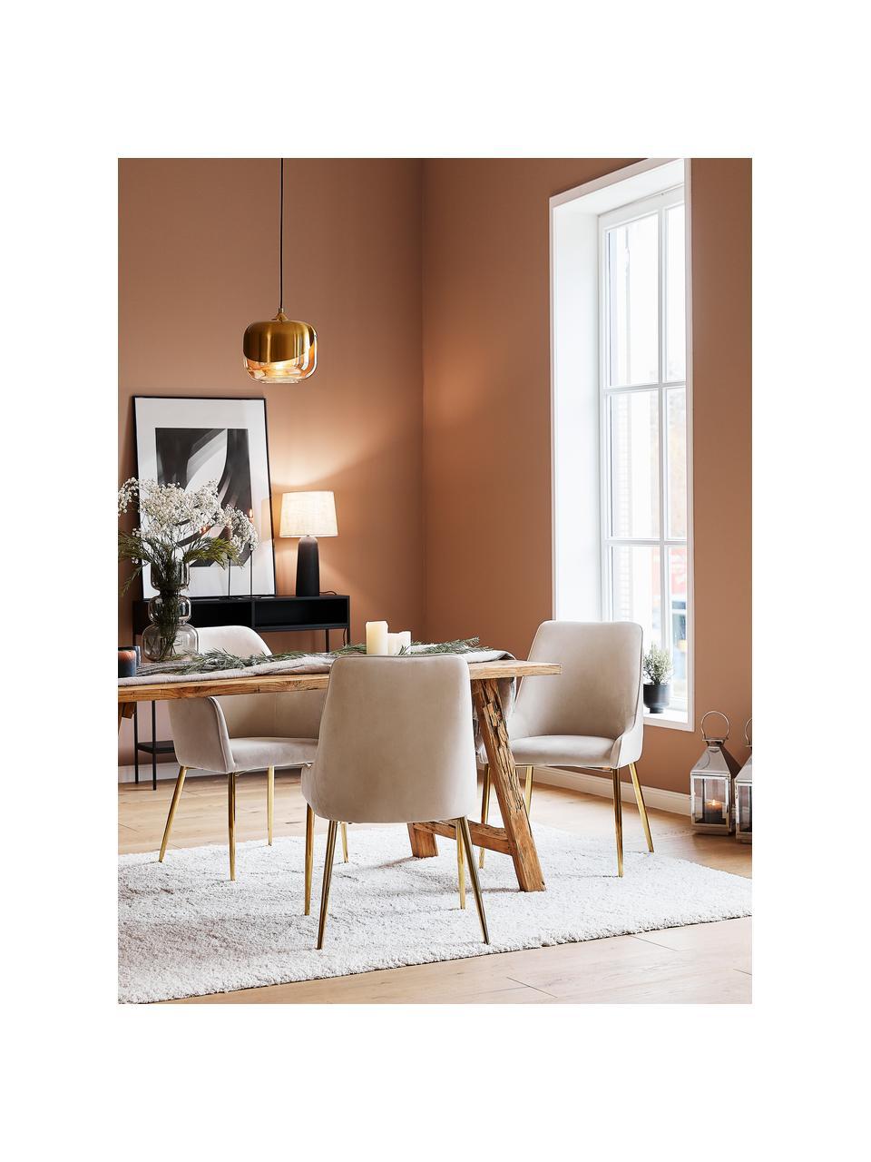 Fluwelen stoel Ava met goudkleurige poten, Bekleding: fluweel (100% polyester), Poten: metaal, Fluweel beige, B 53 x D 60 cm