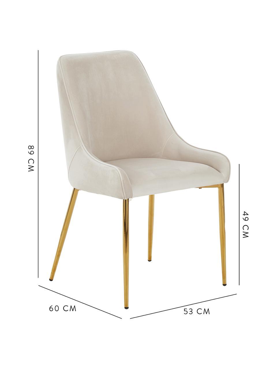 Krzesło tapicerowane z aksamitu Ava, Tapicerka: aksamit (100% poliester) , Nogi: metal galwanizowany, Aksamitny beżowy, S 53 x G 60 cm