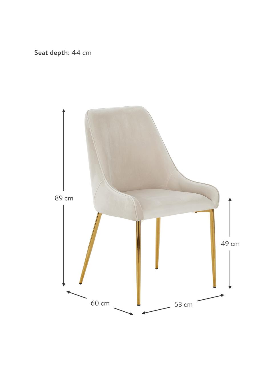 Sedia imbottita in velluto con gambe dorate Ava, Rivestimento: velluto (100% poliestere), Gambe: metallo zincato, Velluto beige, Larg. 53 x Prof. 60 cm