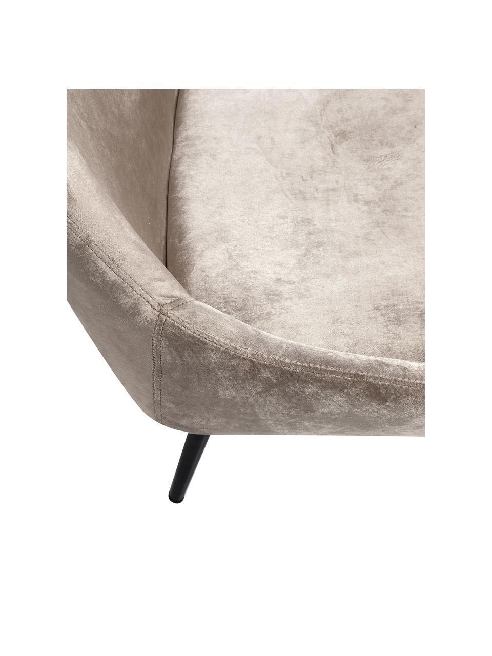 Samt-Sitzbank East Side mit Lehne, Bezug: Polyestersamt Der Bezug w, Beine: Metall, pulverbeschichtet, Korpus: Furnierschichtholz, natur, Beige, B 154 x T 65 cm