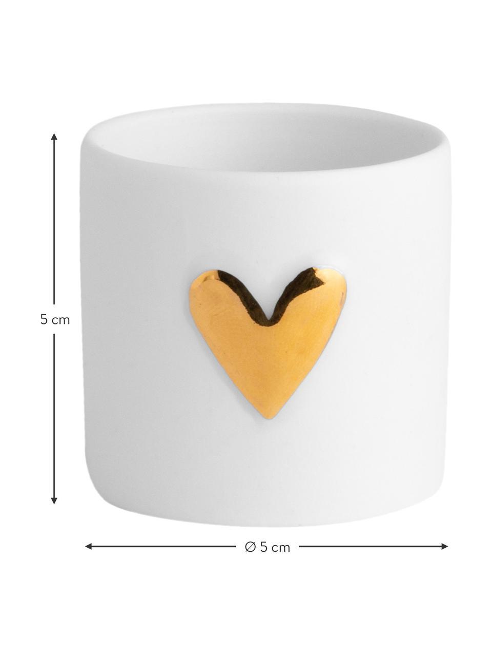 Bougeoirs pour bougies chauffe-plat Heart, porcelaine, 2pièces, Blanc, couleur dorée