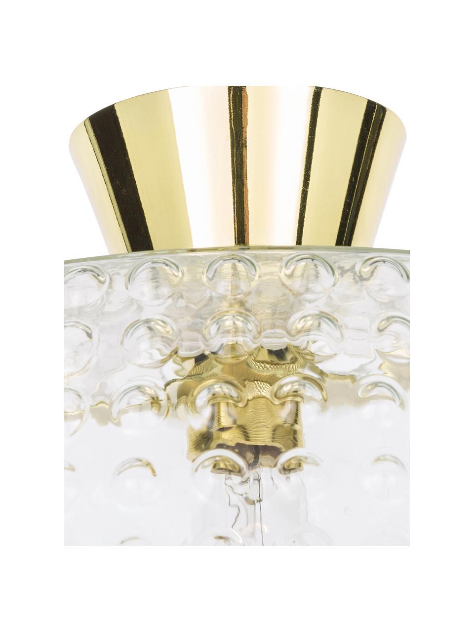 Deckenleuchte Spring aus Glas, Baldachin: Messing, lackiert, Lampenschirm: Glas, Goldfarben, Transparent, Ø 36 x H 27 cm