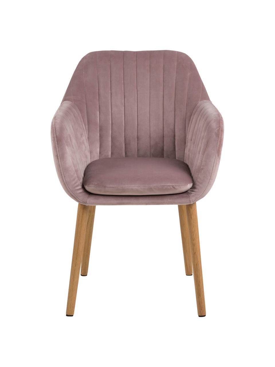Chaise velours rose avec accoudoirs Emilia, Velours rose, pieds chêne