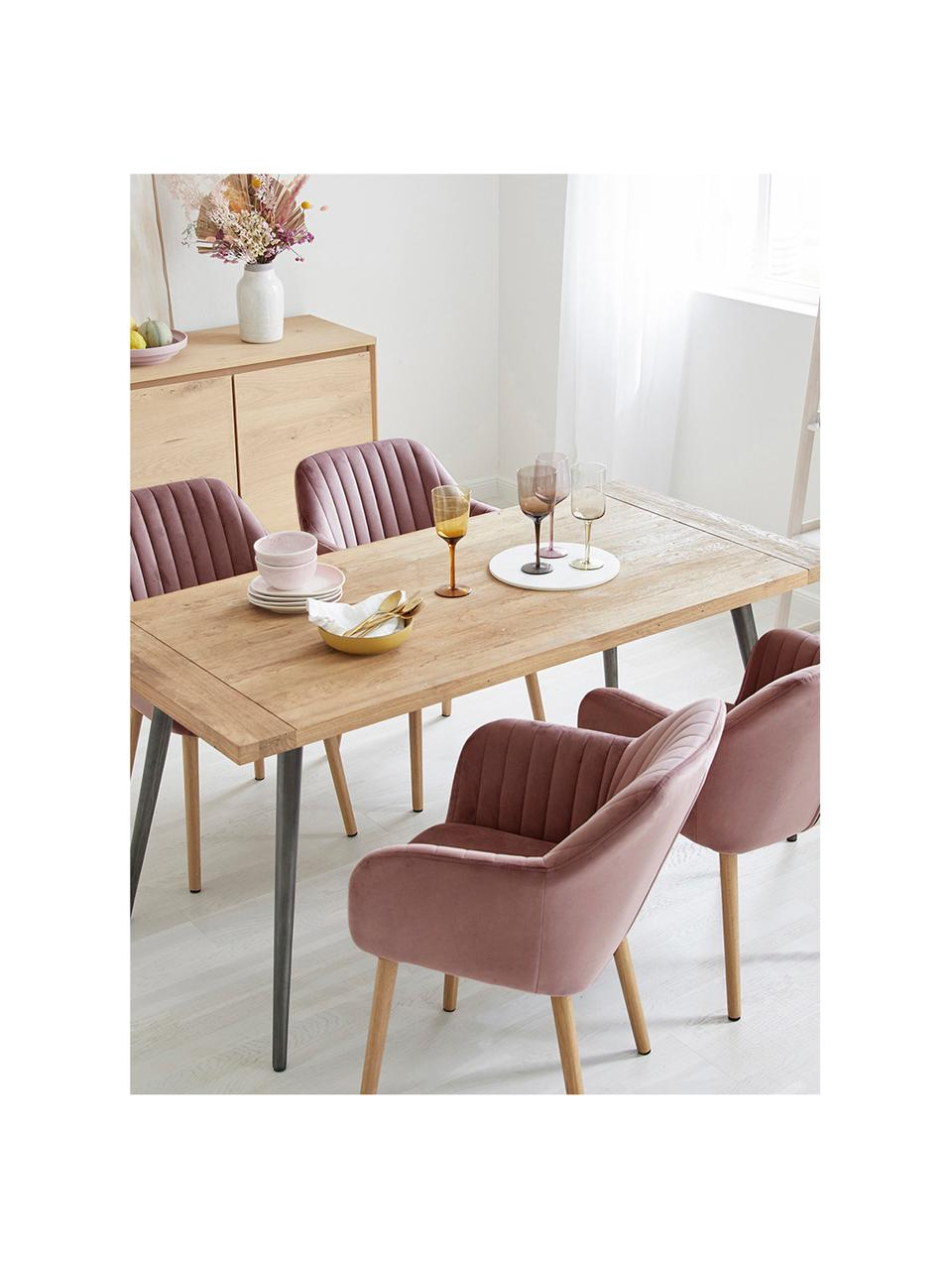Fluwelen armstoel Emilia met houten poten, Bekleding: polyester fluweel, Poten: eikenhout, geolied, Fluweel roze, poten eiken, B 57 x D 59 cm