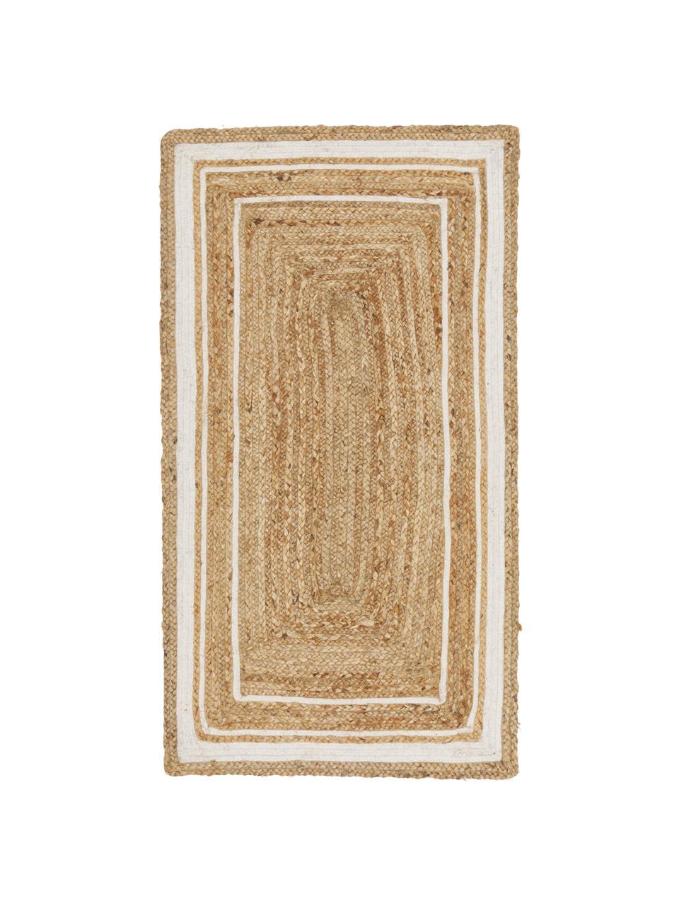 Ręcznie tkany dywan z juty Clover, 100% juta, Beżowy, biały, S 80 x D 150 cm (Rozmiar XS)