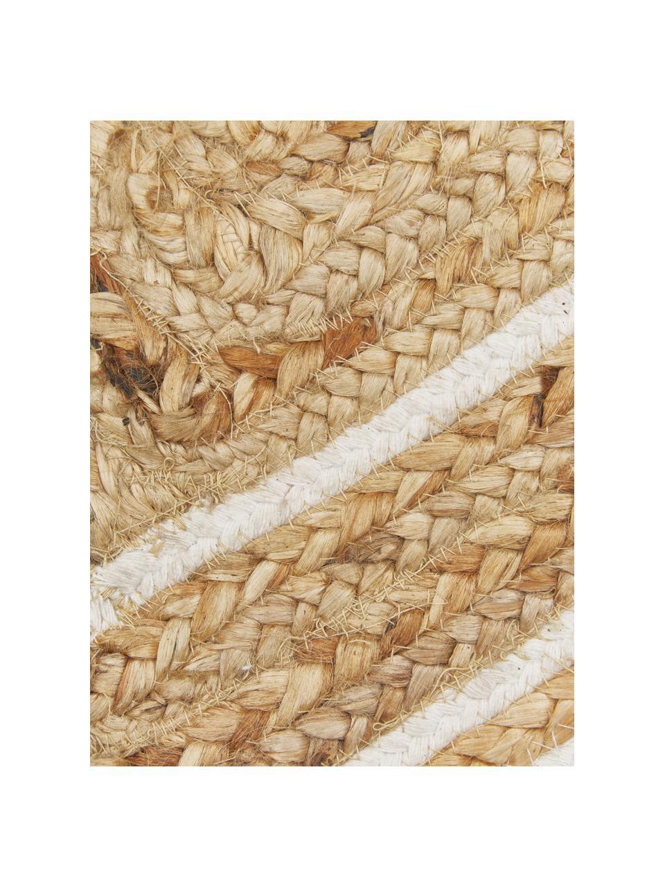 Handgeweven juten vloerkleed Clover, 100% jute, Beige, wit, B 80 x L 150 cm (maat XS)