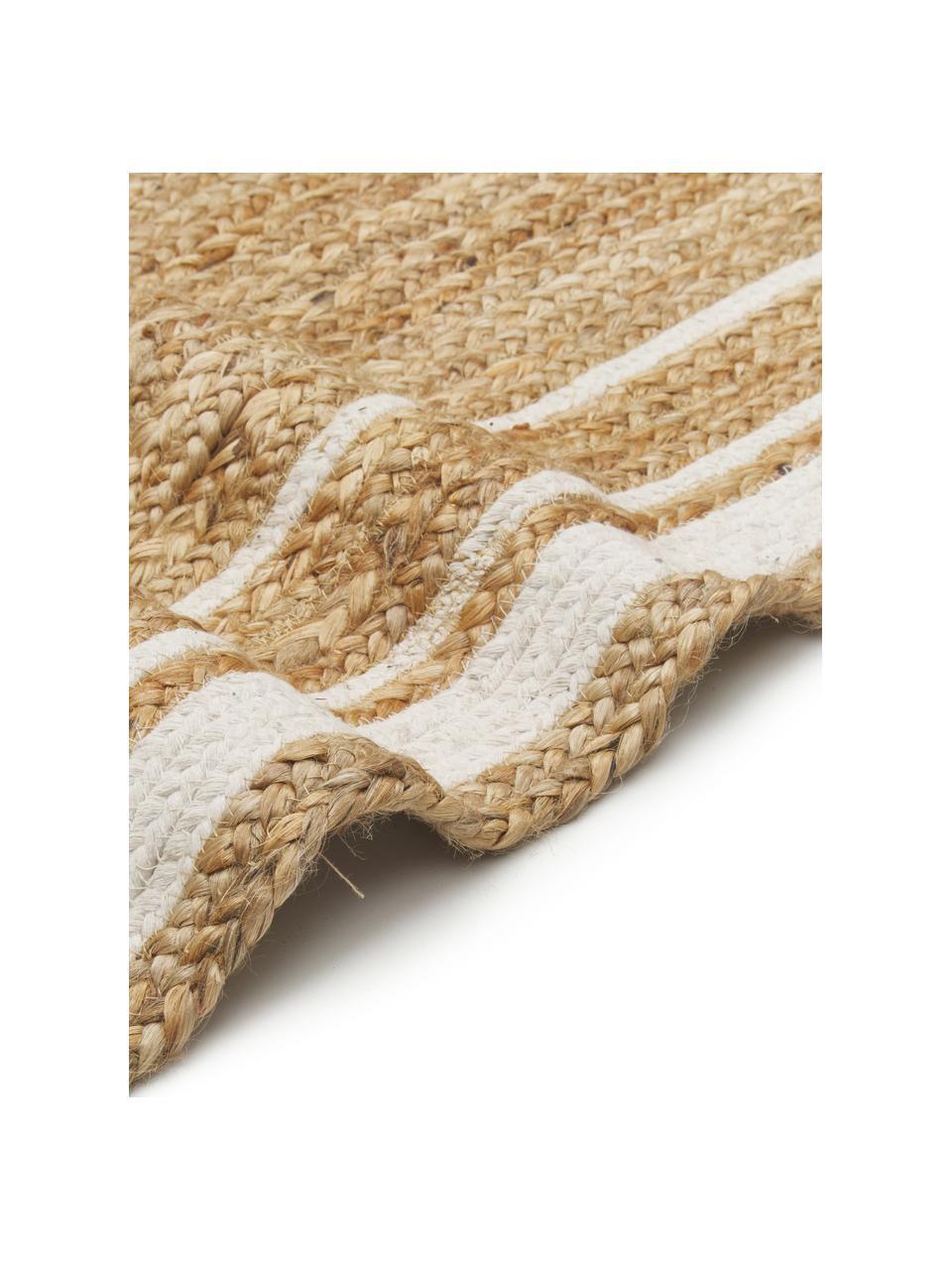 Tappeto in juta tessuto a mano Clover, 100% juta, Beige, bianco, Larg. 80 x Lung. 150 cm (taglia XS)