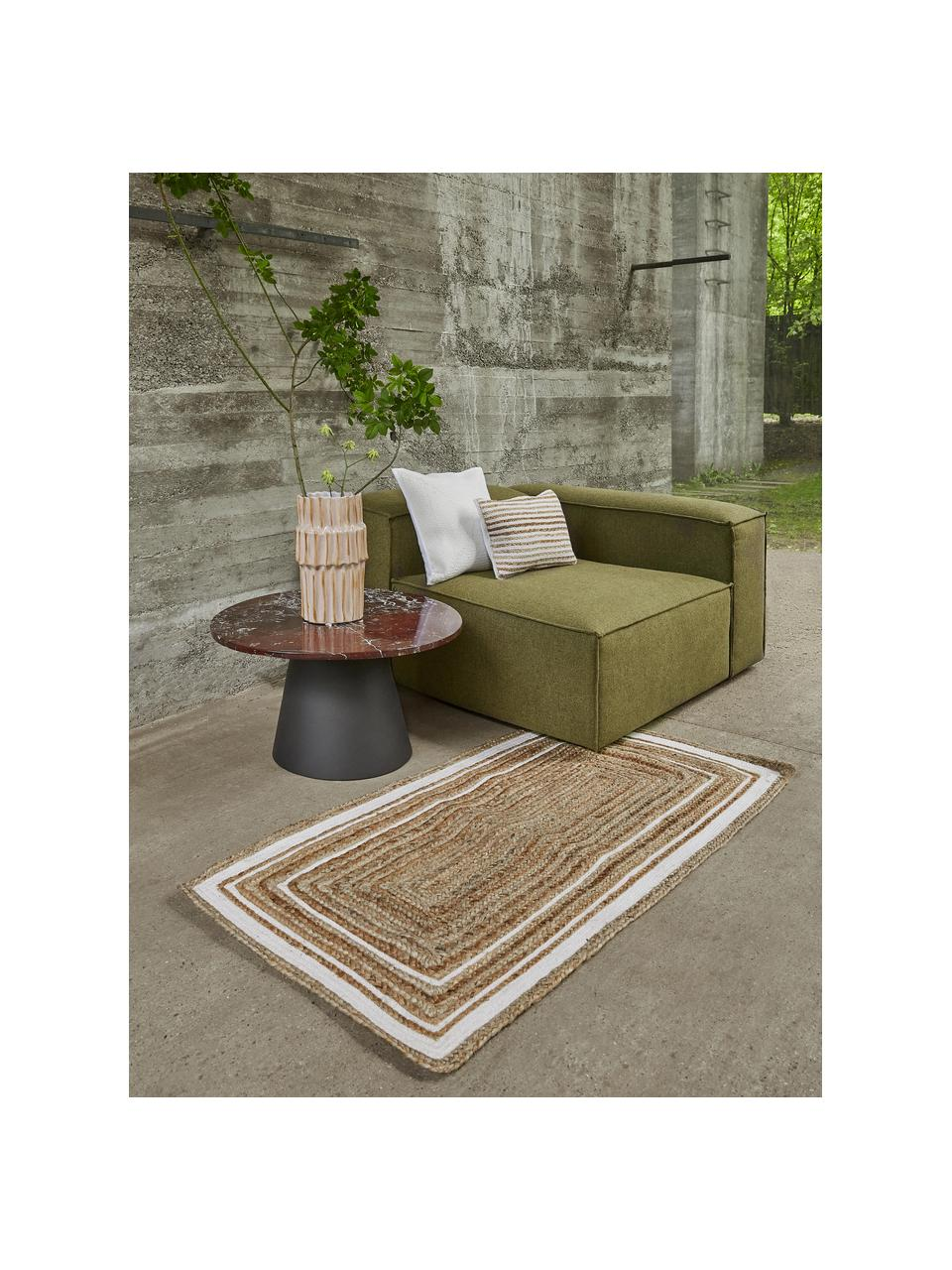 Handgewebter Jute-Teppich Clover, 100% Jute, Beige, Weiß, B 120 x L 180 cm (Größe S)