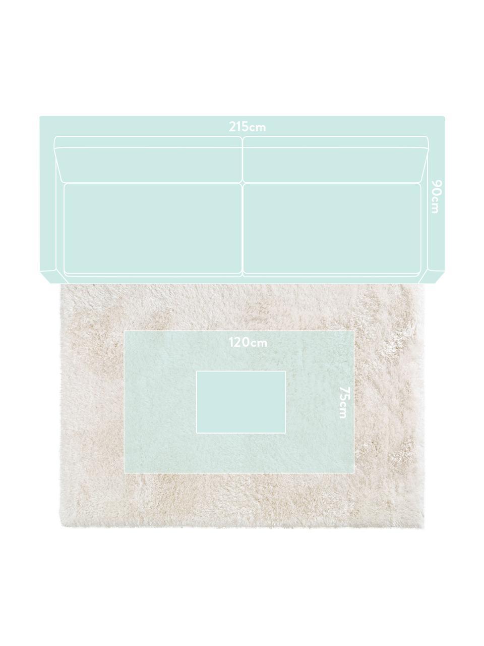 Glanzend hoogpolig vloerkleed Lea in wit, Bovenzijde: 50% polyester, 50% polypr, Onderzijde: 100% jute, Wit, B 300 x L 400 cm (Maat XL)
