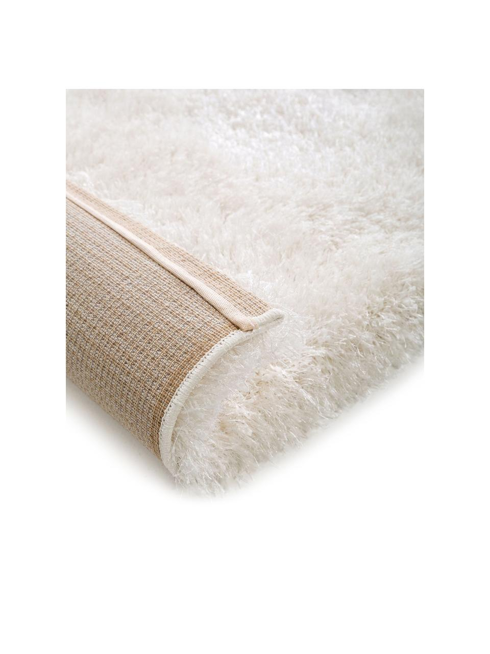 Glänzender Hochflor-Teppich Lea in Weiß, Flor: 50% Polyester, 50% Polypr, Weiß, B 300 x L 400 cm (Größe XL)