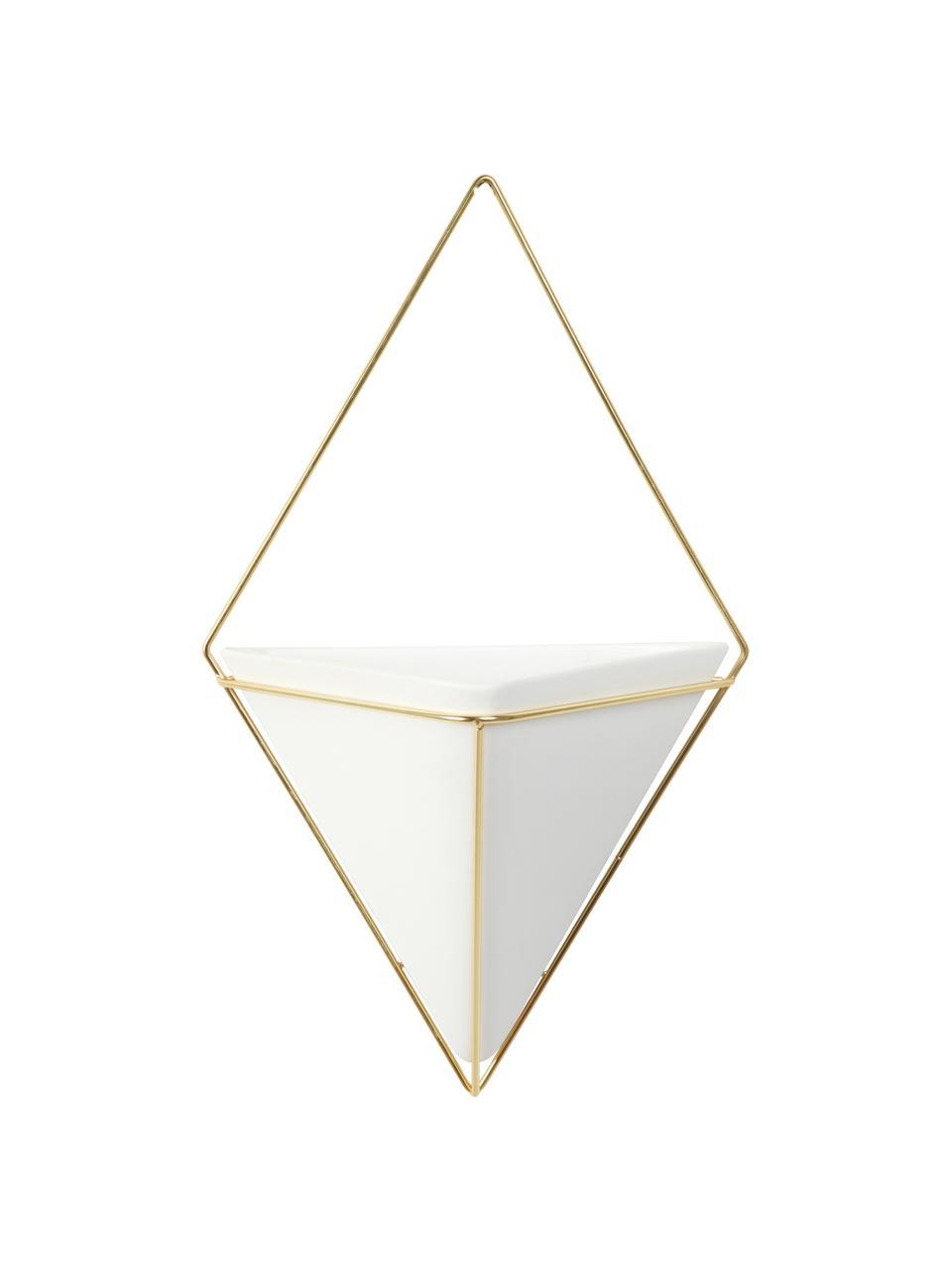 Dekoracja ścienna z pojemnikiem do przechowywania z ceramiki Trigg, Biały, mosiądz, matowy, S 23 x W 38 cm