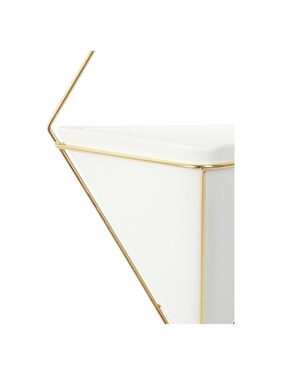 Wandaufbewahrungs-Schale Trigg aus Keramik, Aufbewahrung: Keramik, Weiß, Messing, matt, 23 x 38 cm