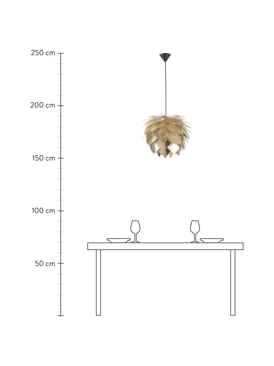 Lampada a sospensione Silvia, Paralume: polipropilene, Baldacchino: materiale sintetico, Paralume: ottone Pendolo del cavo: nero, Ø 50 x Alt. 41 cm