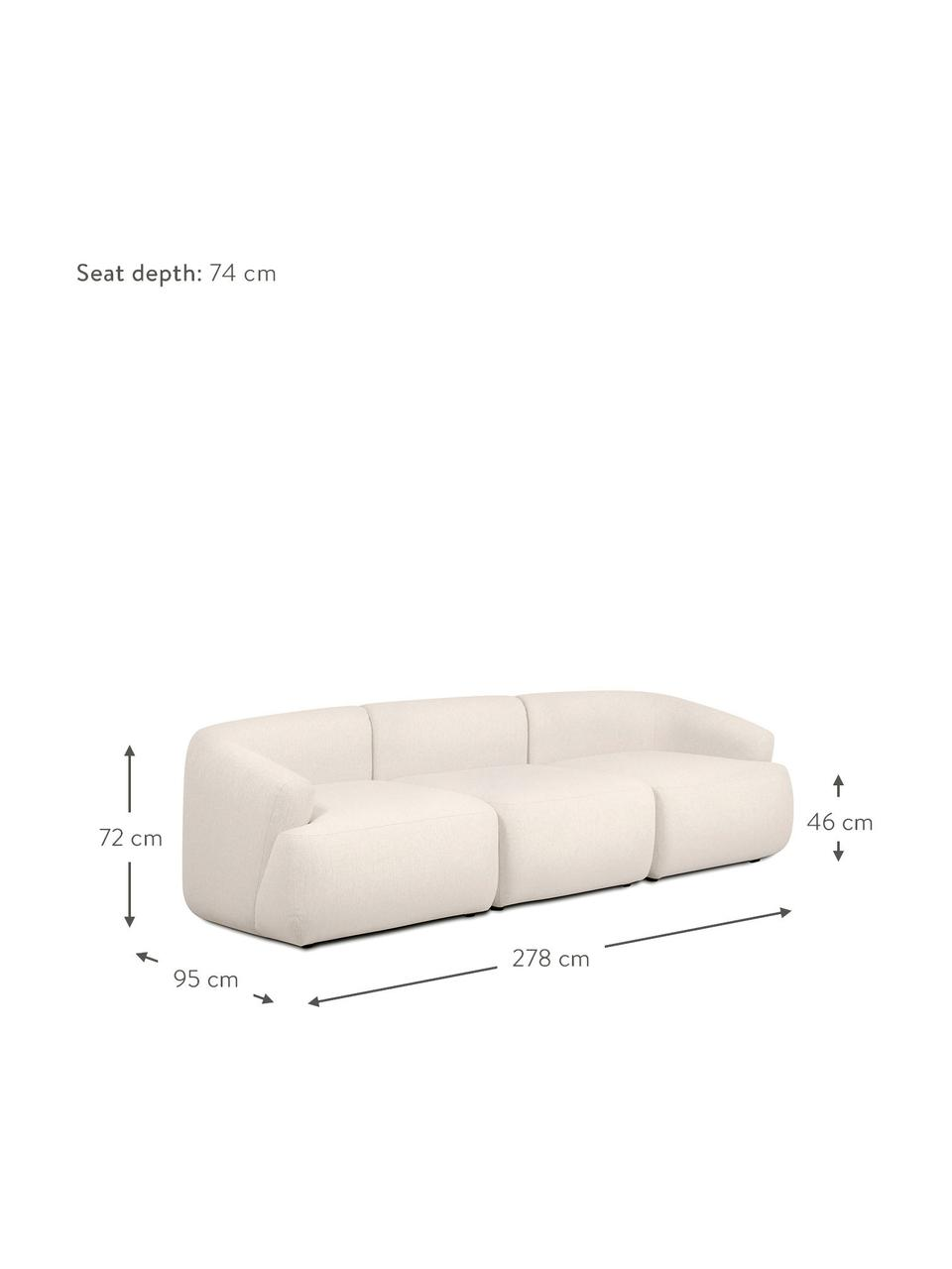 Divano componibile 3 posti beige Sofia, Rivestimento: 100% polipropilene Con 23, Piedini: materiale sintetico, Beige, Larg. 278 x Prof. 95 cm