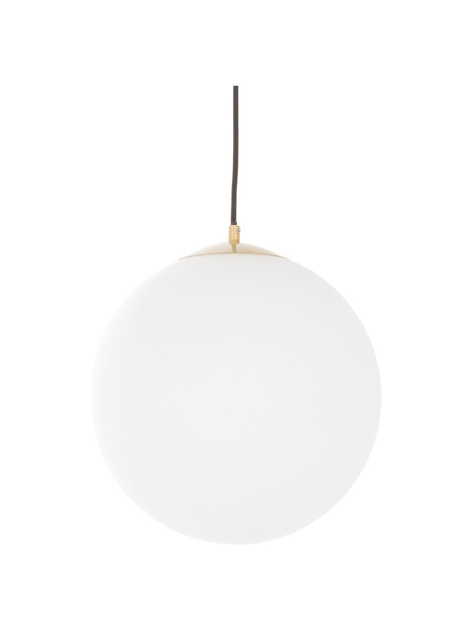 Lampada a sospensione a sfera in vetro Beth, Paralume: vetro opale, Baldacchino: metallo ottonato, Decorazione: metallo ottonato, Bianco, ottone, Ø 30 cm