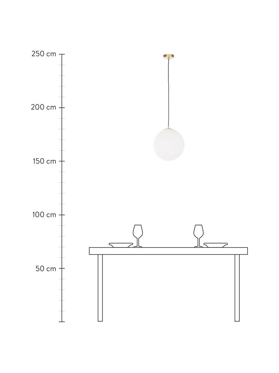 Lampa wisząca ze szkła opalowego Beth, Biały, mosiądz, Ø 30 cm
