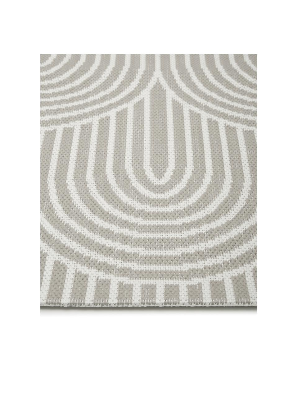 In- & outdoor vloerkleed Arches in grijs/crèmewit, 86% polypropyleen, 14% polyester, Grijs, wit, B 200 x L 290 cm (maat L)