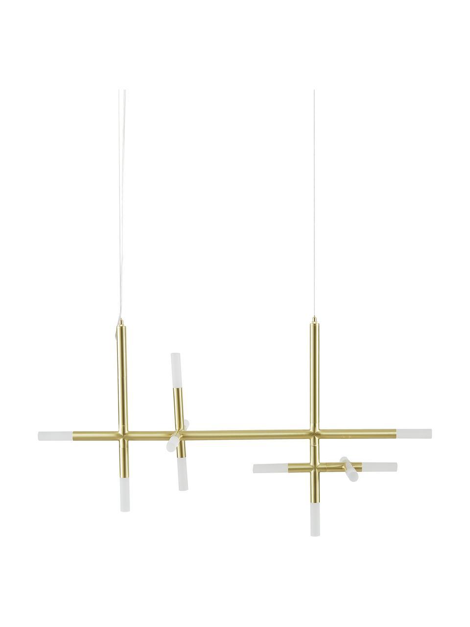 Große LED-Pendelleuchte Gratia in Gold, Baldachin: Metall, galvanisiert, Gold, 90 x 90 cm