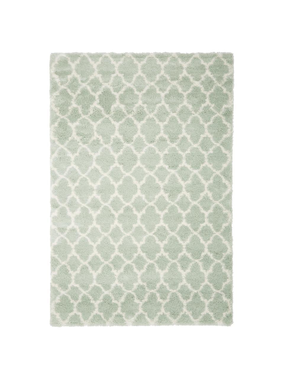 Hochflor-Teppich Mona in Mintgrün/Creme, Flor: 100% Polypropylen, Mintgrün, Cremeweiß, B 200 x L 300 cm (Größe L)