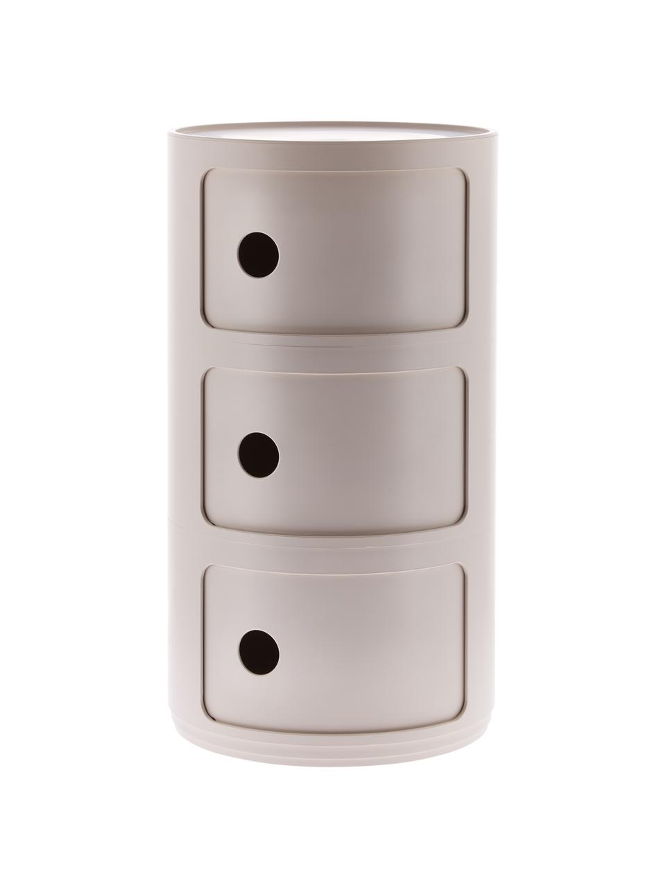 Comodino contenitore di design con 3 cassetti Componibili, 100% biopolimero da materie prime rinnovabili, Crema, opaco, Ø 32 x Alt. 59 cm