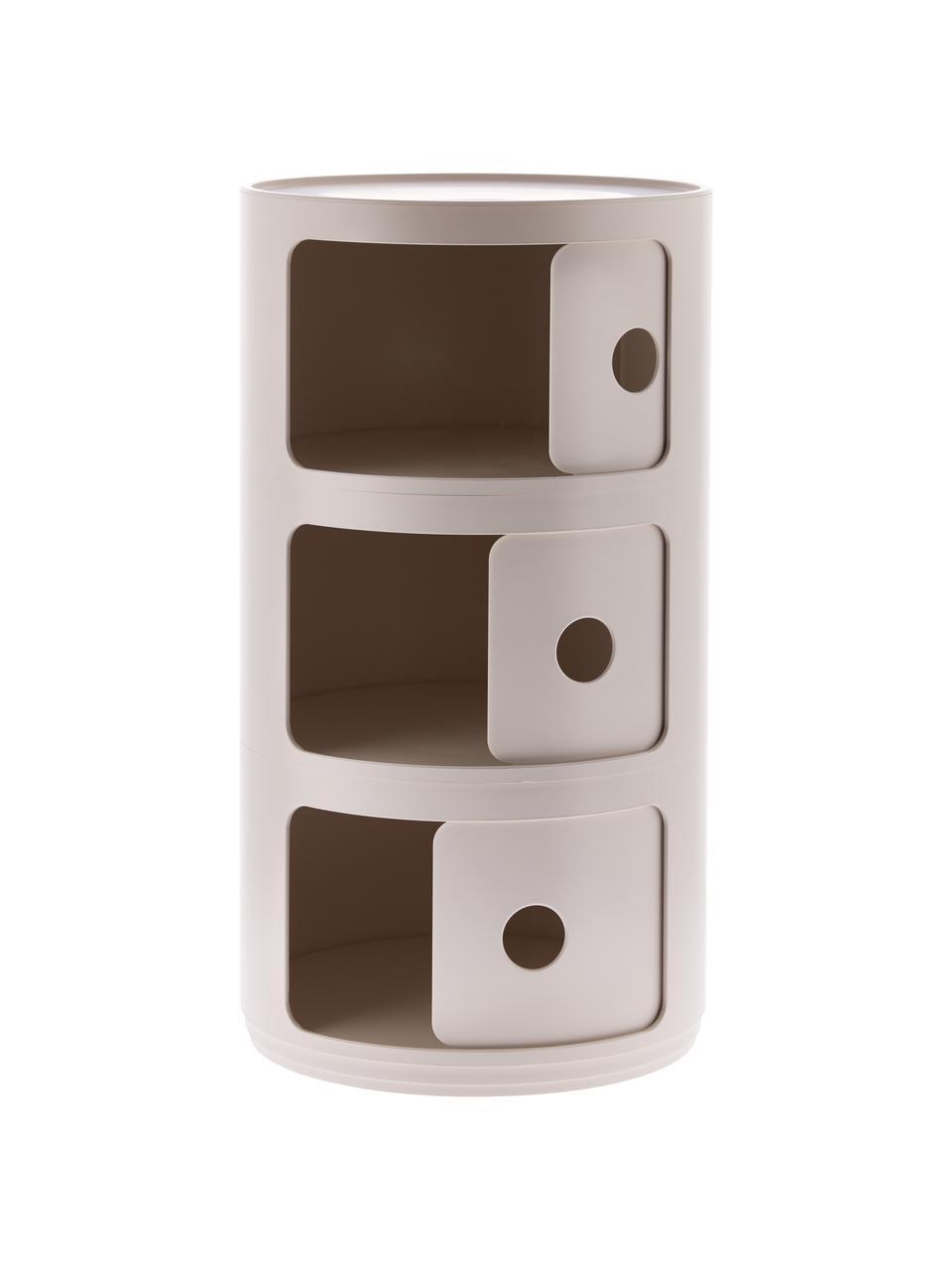 Table d'appoint design 3 compartiments Componibile, Crème, mat