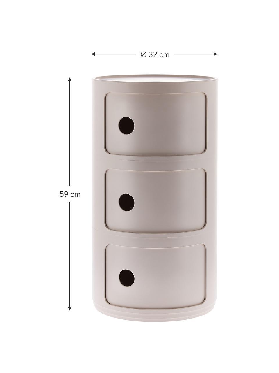Design Container Componibili Bio 3 Modules, 100% Biopolymer aus nachwachsenden Rohstoffen, Creme, matt, Ø 32 x H 59 cm