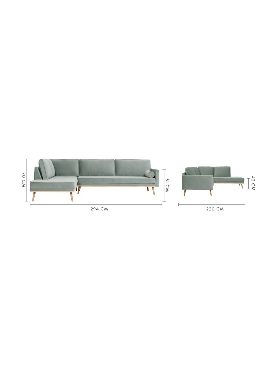 Sofa narożna z aksamitu z nogami z drewna dębowego Saint (4-osobowa), Tapicerka: aksamit (poliester) Dzięk, Szałwiowy zielony, S 294 x G 220 cm