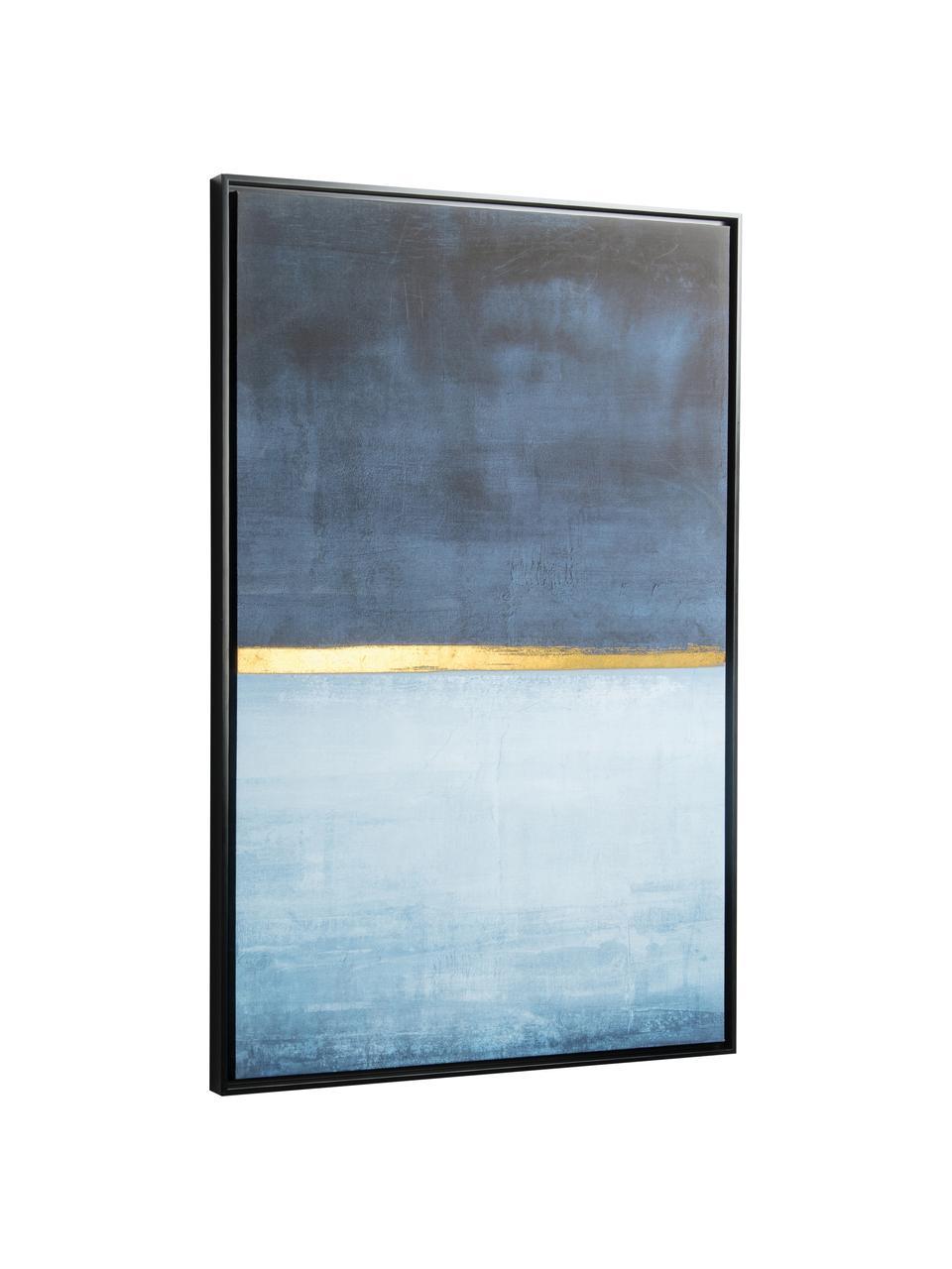 Leinwandbild Wrigley, Rahmen: Mitteldichte Holzfaserpla, Bild: Leinwand, Blautöne, Goldfarben, 60 x 90 cm