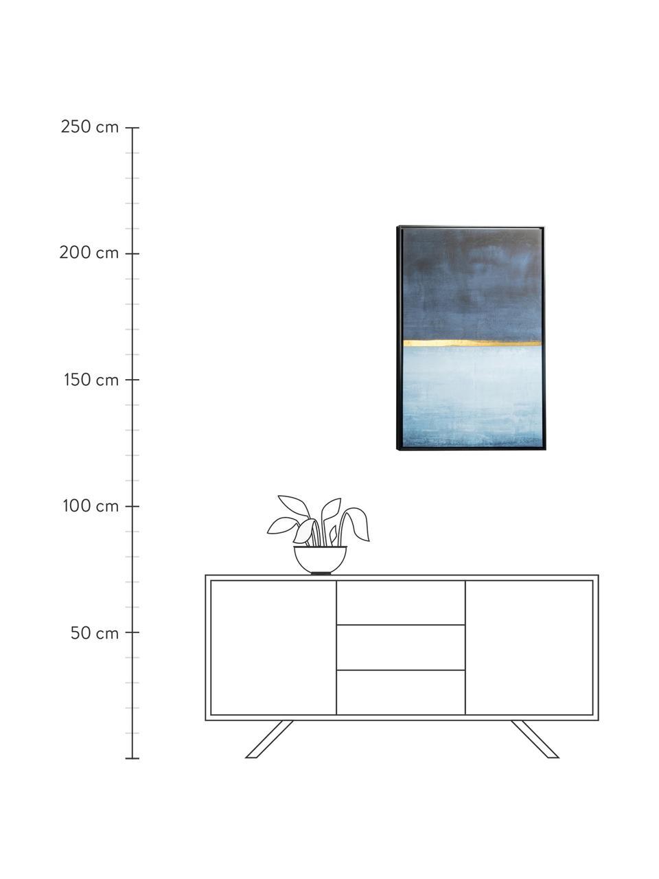 Stampa su tela Wrigley, Cornice: pannello di fibra a media, Immagine: tela, Tonalità blu, dorato, Larg. 60 x Alt. 90 cm