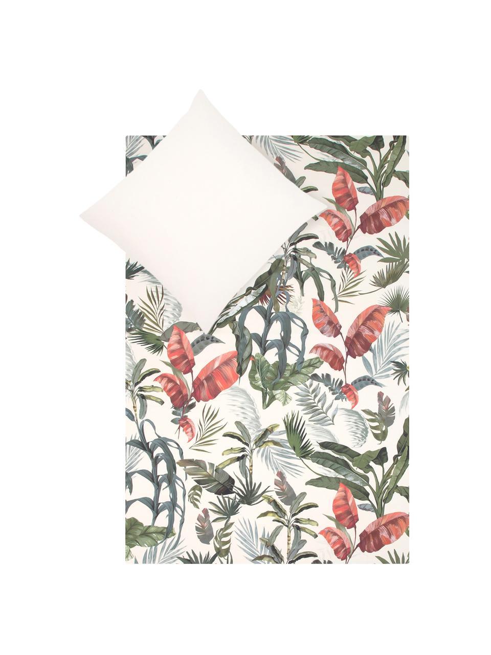 Baumwollperkal-Bettwäsche Tropicana mit tropischem Print, Webart: Perkal Fadendichte 200 TC, Vorderseite: MehrfarbigRückseite: Cremeweiss, 240 x 220 cm + 2 Kissen 80 x 80 cm
