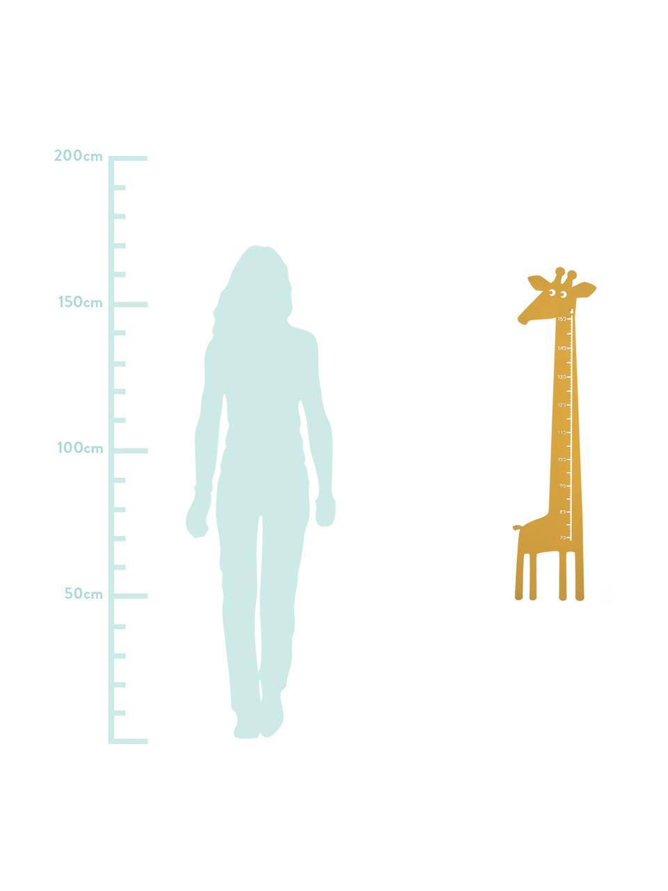 Groeimeter Giraffe, Gepoedercoat metaal, Geel, 28 x 115 cm