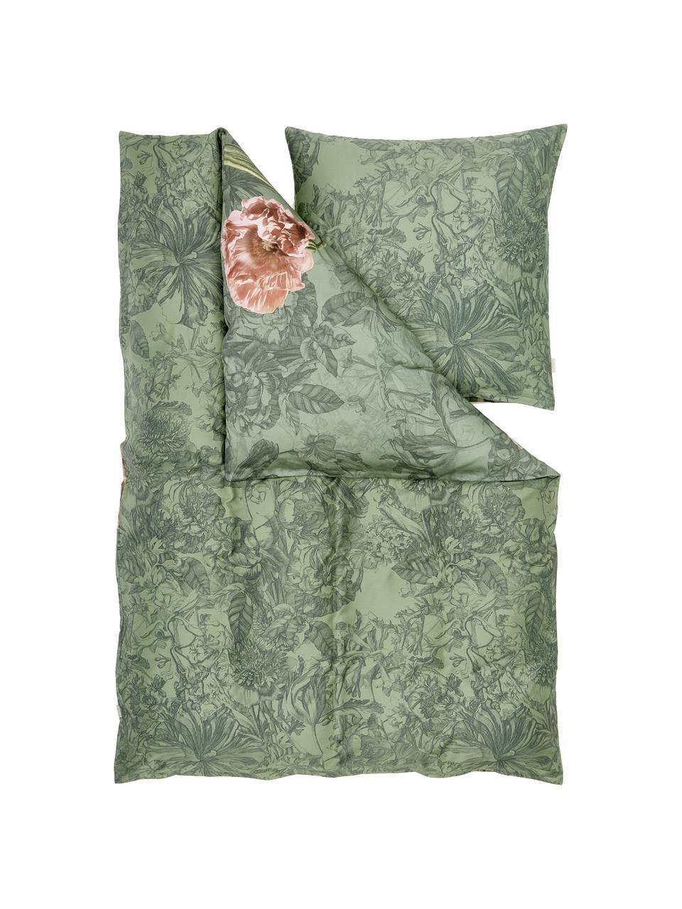 Baumwollsatin-Wendebettwäsche Annabel mit Blumenmuster, Webart: Satin, Basilikumgrün, 135 x 200 cm + 1 Kissen 80 x 80 cm