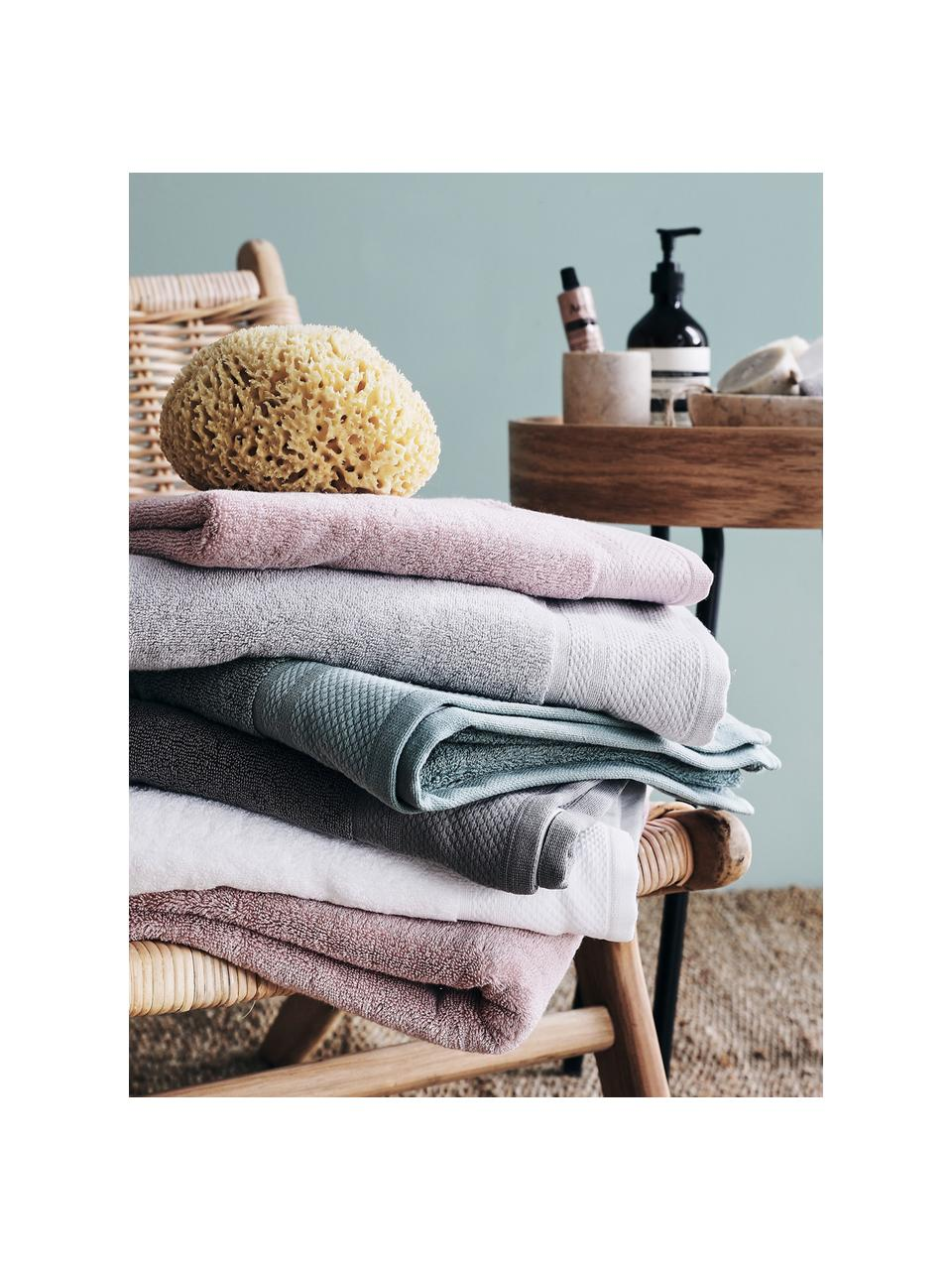 Set 3 asciugamani con bordo decorativo classico Premium, Bianco, Larg. 30 x Lung. 30 cm