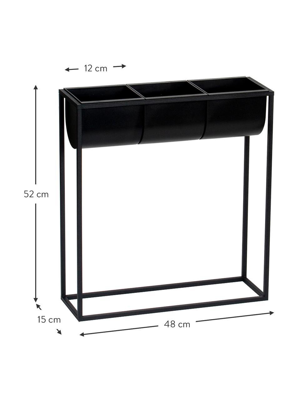 Übertopf-Set Bino aus Kunststoff und Metall, 4-tlg., Gestell: Metall, beschichtet, Übertopf: Kunststoff, Schwarz, 48 x 52 cm