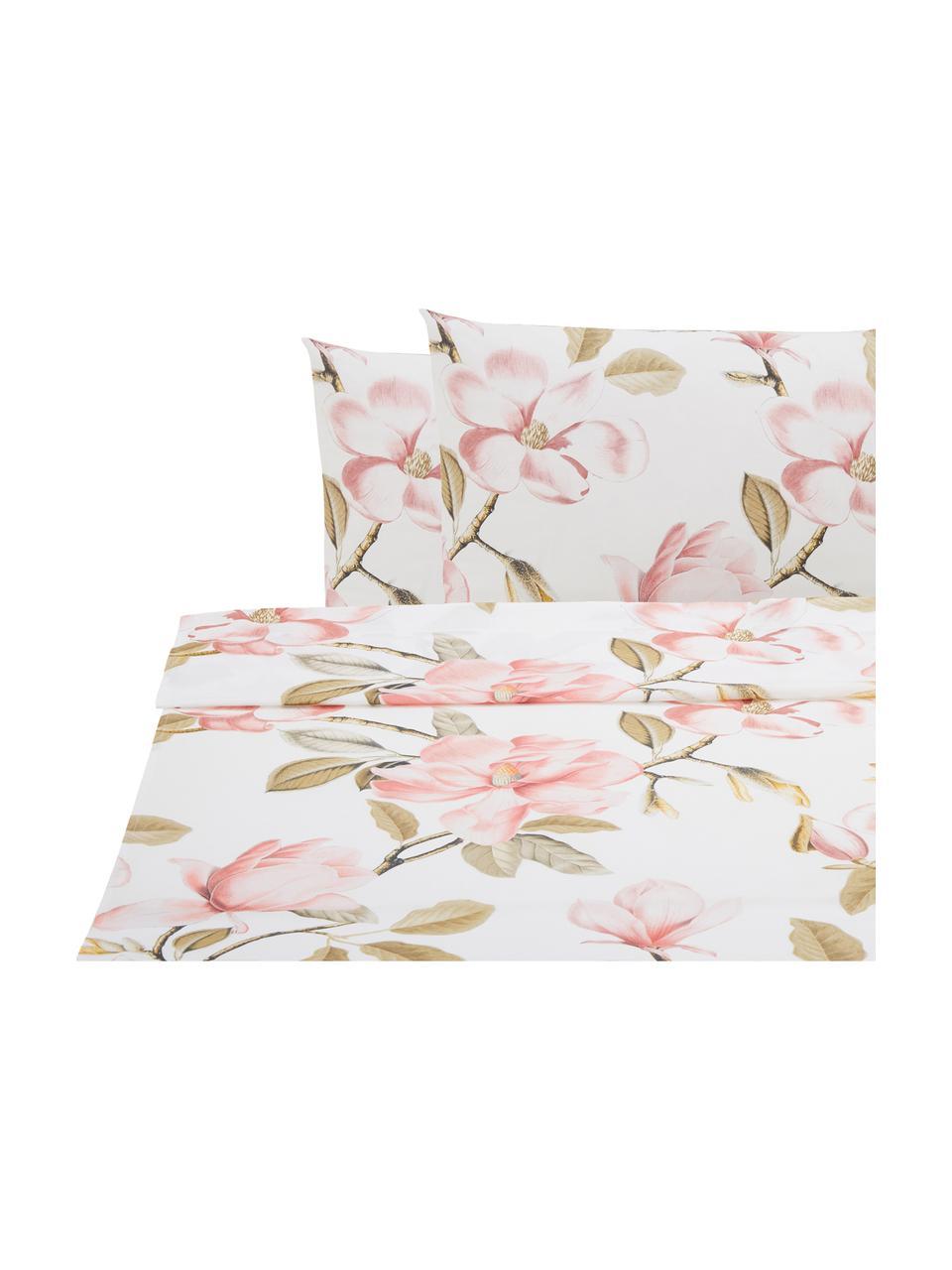 Set lenzuola in cotone Magnolia, Bianco, rosa, verde, 240 x 270 cm + 2 federe 50 x 75 cm