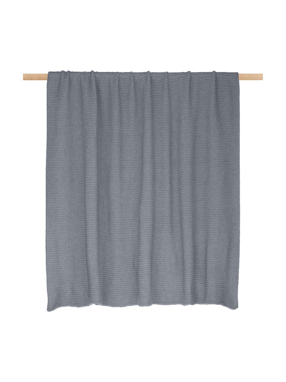 Coperta a maglia in cotone biologico grigio chiaro Adalyn, 100% cotone biologico, certificato GOTS, Grigio chiaro, Larg. 150 x Lung. 200 cm
