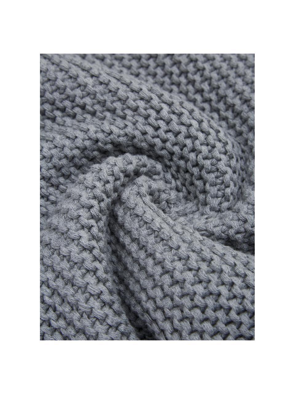 Strickdecke Adalyn aus Bio-Baumwolle in Hellgrau, 100% Bio-Baumwolle, GOTS-zertifiziert, Hellgrau, 150 x 200 cm