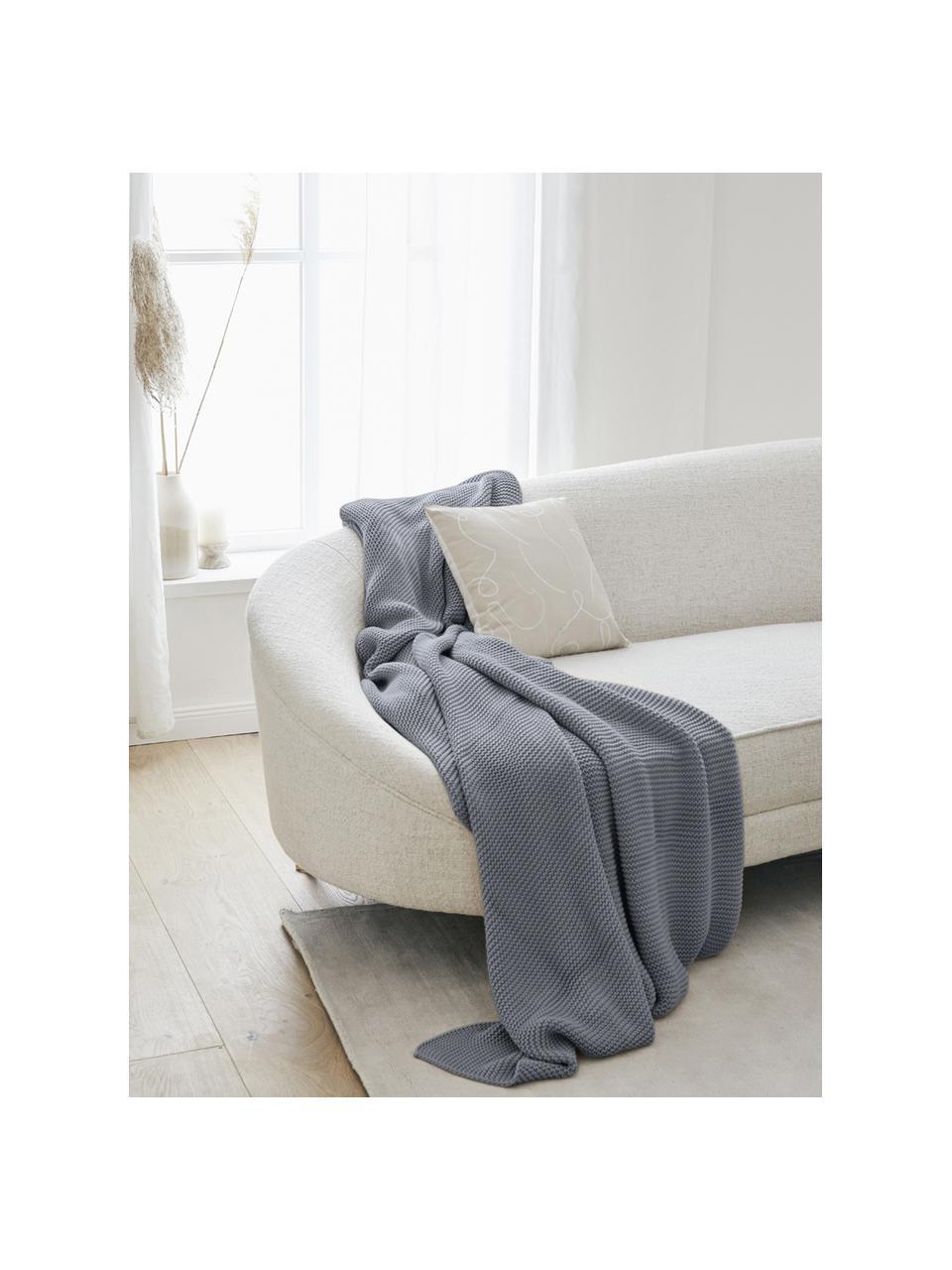 Coperta a maglia in cotone biologico grigio Adalyn, 100% cotone biologico, certificato GOTS, Grigio, Larg. 150 x Lung. 200 cm